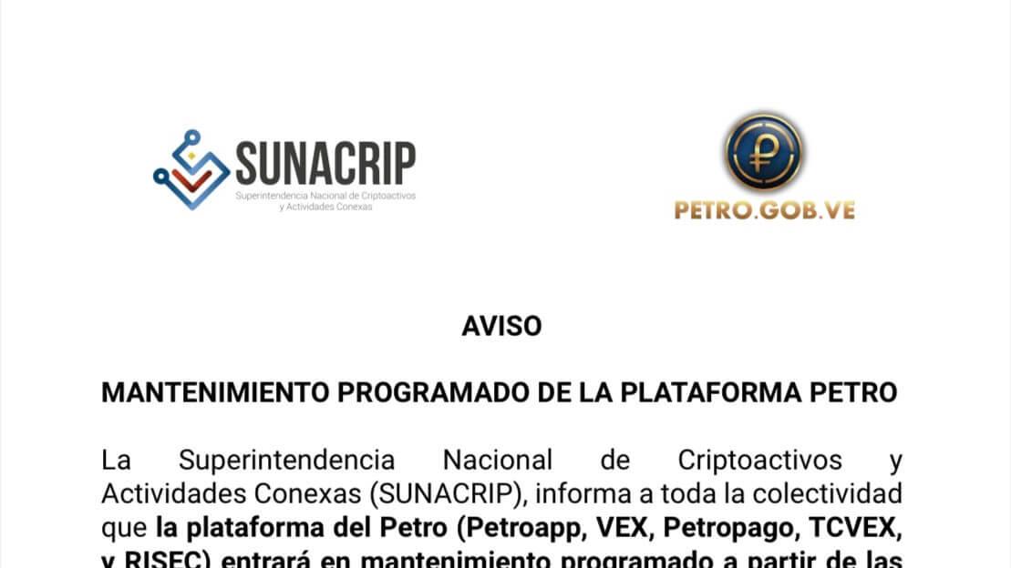 Sunacrip - Aviso de mantenimiento programado de 08 de Enero de la plataforma Petro